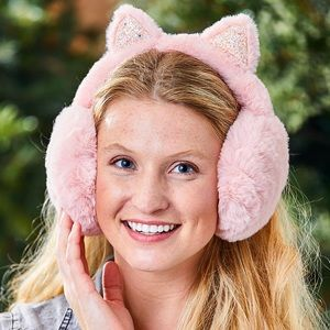 Light Pink Fuzzy Cat Ears Earmuffs - Women NEW!